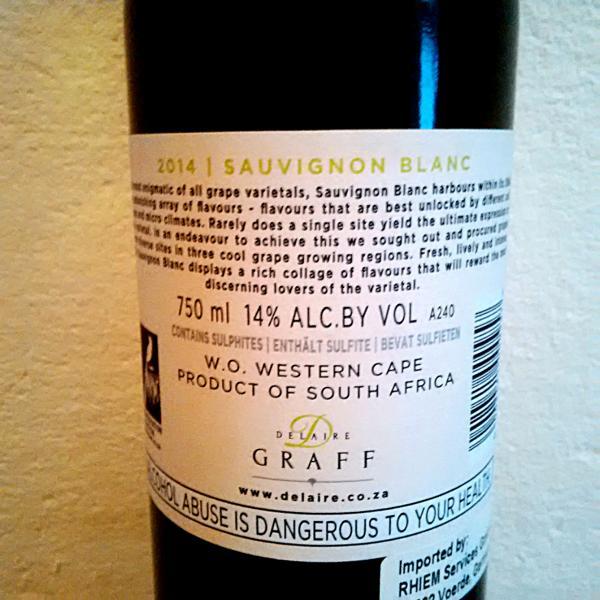 Delaire Graff Sauvignon Blanc 2014
